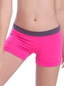 Rose Red Sports Elastic Skinny Yoga Shorts