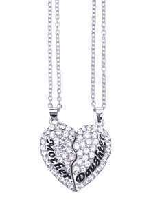Mother and Daughter White Diamond Heart Pendant Necklace