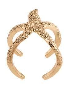 Gold Three Dimensional Starfish Ring