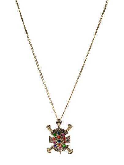 Multicolor Diamond Tortoise Pendant Necklace