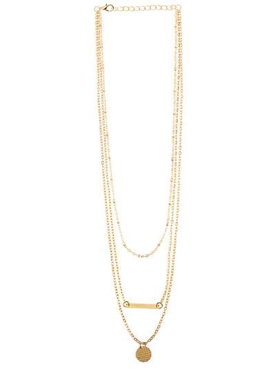 Gold Geometric Shape Metal Foil Necklace