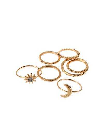 7 pcs Gold Rhinestone Moon Ring