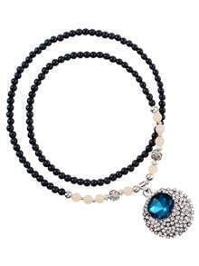 Blue White Diamond Oval Pendant Beads Necklace
