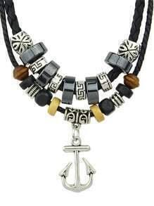 Pu Leather Beads Pendant Necklace