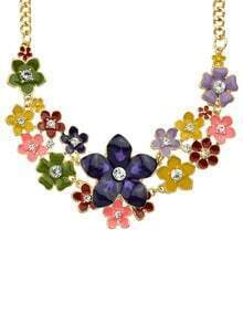 Purple Rhinestone Flower Necklace