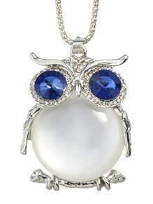 White Cute Rhinestone Owl Necklace