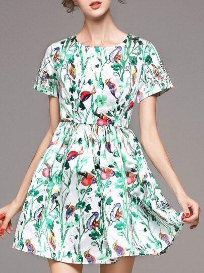Модное платье с цветочным принтом