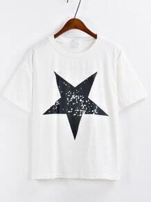 Star Print White T-shirt