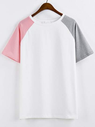Camiseta manga raglan -color combinado
