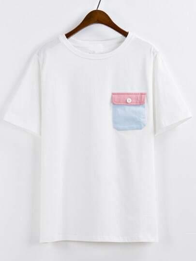 Contrast Pocket White T-shirt
