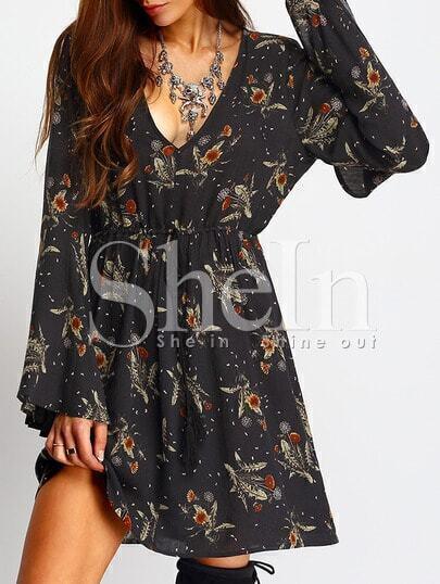 Bell Sleeve Deep V Neck Tie-Waist Floral Dress