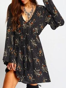 Bell Sleeve Deep V Neck Tie-Waist Floral Dress
