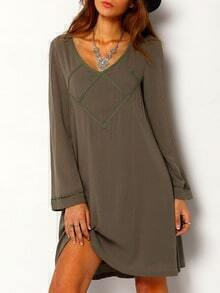 Bell Sleeve V Neck Embroidery Cut Out Dress