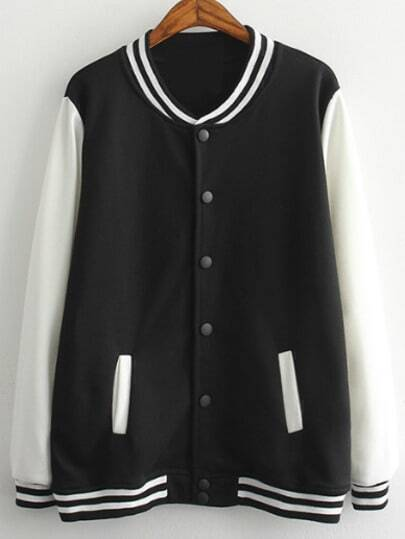 Black White Single Breasted Striped Jacket