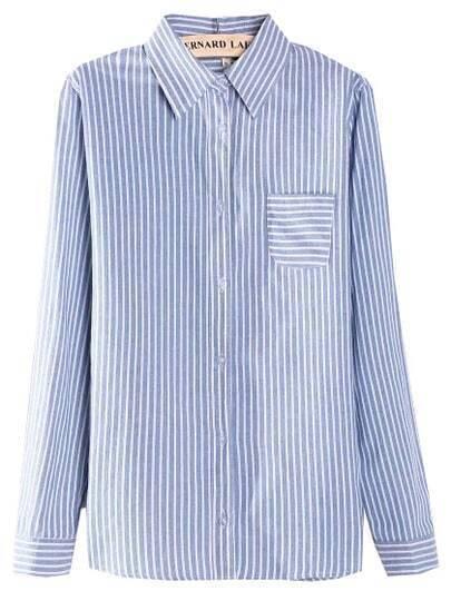 Blue Lapel Vertical Stripe Pocket Blouse