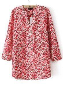 Red V Neck Floral Pocket Loose Blouse