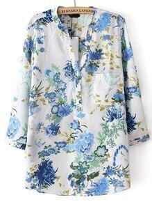Blue V Neck Floral Pocket Loose Blouse