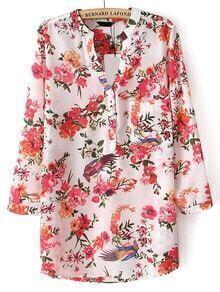 Red V Neck Floral Pocket Loose Blouse