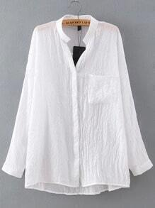 White Stand Collar Pockets Loose Blouse