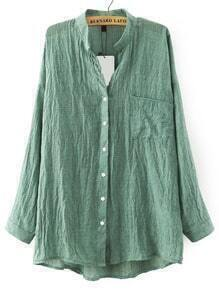 Green Stand Collar Pockets Loose Blouse
