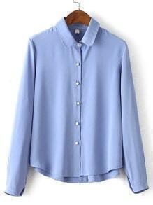 Blue Lapel Simple Crop Blouse