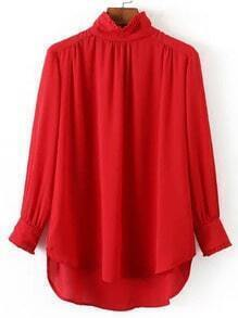 Red Frill Neck Chiffon Loose Blouse