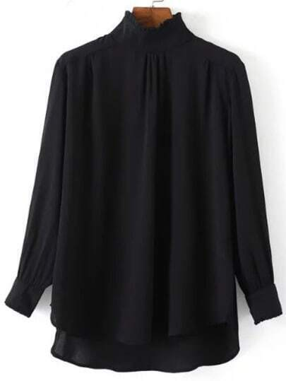 Black Frill Neck Chiffon Loose Blouse