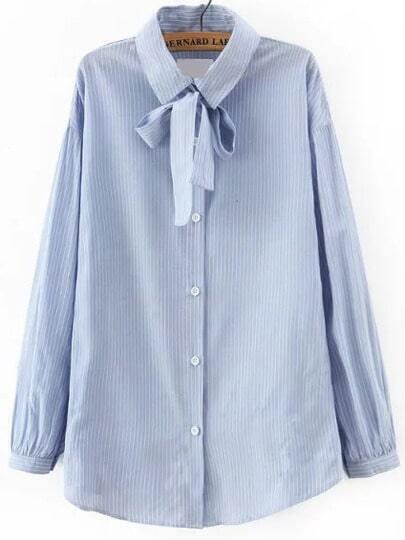 Blue Tie Neck Vertical Stripe Blouse
