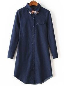 Navy Lapel Bow Embellished Denim Shirt Dress