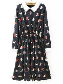 Black Contrast Collar Cats Print Dress