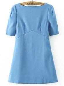 Blue Boat Neck Short Sleeve Dress