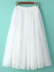 White Sheer Mesh Flare Skirt