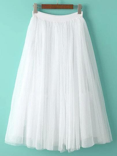 White Sheer Mesh Flare Skirt