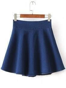 Blue High Waist Flare Denim Skirt
