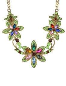 Colorful Rhinestone Flower Necklace