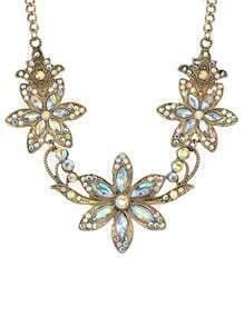 White Rhinestone Flower Necklace
