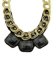 Black Wide Chain Collar Necklace