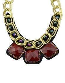 Red Wide Chain Collar Necklace