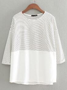White Black Crew Neck Striped Loose T-Shirt