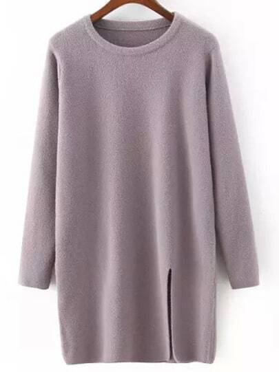 Purple Crew Neck Split Loose Sweater