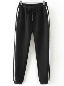 Black Drawstring Waist Elastic Sport Pant