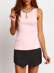 Pink Rhinestone Keyhole Front Sleeveless Blouse