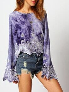 Purple Lace Eyelet Embroidery Bell Sleeve Blouse