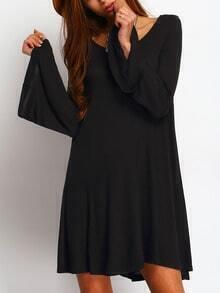 Black Scoop Neck Bell Sleeve Swing Dress