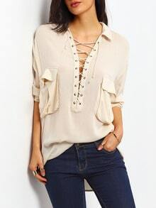 Apricot Long Sleeve Pockets Lace Up Blouse