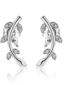 Silver Crystal Leaves Earrings