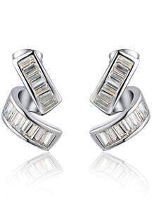 Silver Crystal Stud Earring