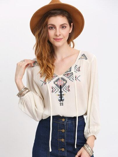 Beige Long Sleeve Geometric Embroidered Blouse