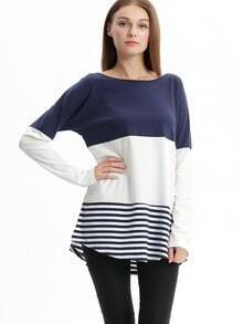 Navy White Striped Round Neck Color Block Casual Blouse