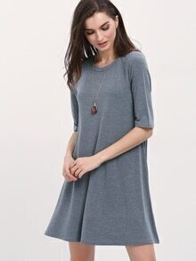 Grey Round Neck Shift Dress